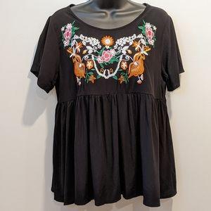 2/$20 Shein black embroidered flowy blouse medium
